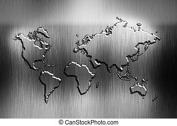 mappa, metallo, fondo, mondo