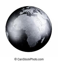 mappa, metallo, nero, ferro, mondo, terra