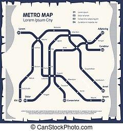 mappa, metro, manifesto, -, disegno, sottopassaggio