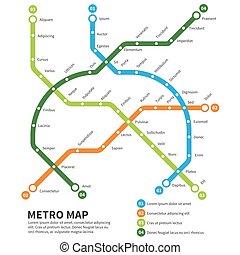 mappa, metro, vettore, sottopassaggio, sagoma