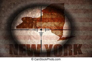 mappa, mirato, vendemmia, bandiera, americano, stato, york, scopo, nuovo, cecchino