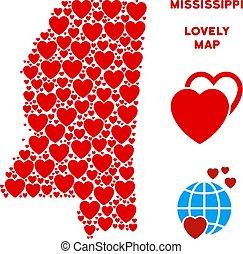 mappa, mississippi, valentina, stato, vettore, cuori, mosaico