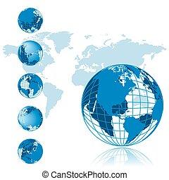 mappa mondo, 3d, globo, serie