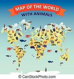 mappa mondo, animale, concetto, fondo, cartone animato, stile