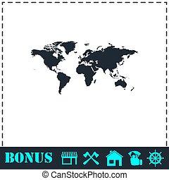 mappa mondo, appartamento, icona