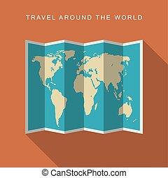 mappa mondo, carta, appartamento, icona