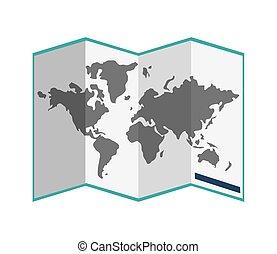 mappa mondo, carta, icona