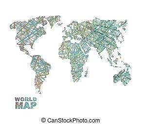 mappa mondo, communication., internet, networkconnects, earth., questione, colorato, connettività, geografia, affari, trasferimento, globale, lines., dati, concetto, pianeta