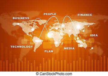 mappa mondo, con, affari, parole