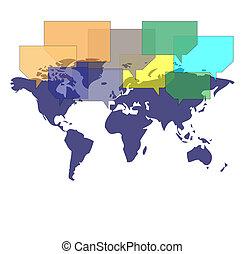 mappa mondo, con, parecchi, palloni, comunicare