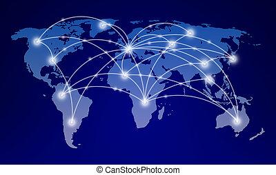 mappa mondo, con, rete globale, comunicazione