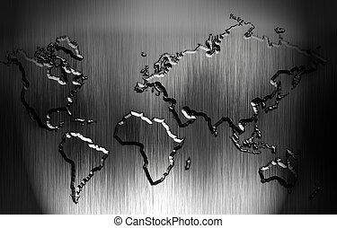 mappa mondo, con, su, uno, metallo, fondo