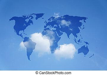 mappa mondo, con, uno, cielo blu