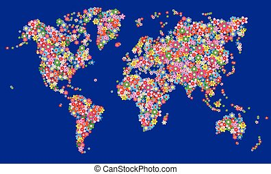 mappa mondo, fiori