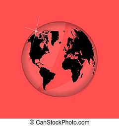 mappa mondo, illustrazione, vetro