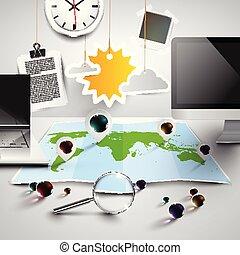 mappa mondo, in, 3d, con, ufficio, attrezzi, soleggiato, vettore