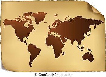 mappa mondo, in, vendemmia, pattern.