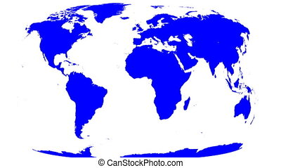 mappa mondo, involucri, a, globo, bianco