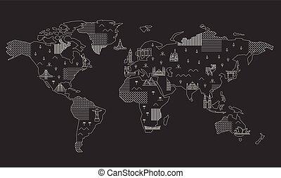 mappa mondo, landmarks., famoso