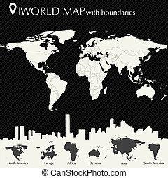 mappa mondo, paesi