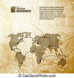 mappa mondo, pattern., vendemmia