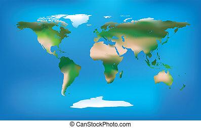 mappa mondo, pieno, colore, e, dettagliato