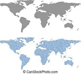 mappa mondo, pixel, astrazioni