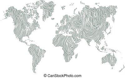 mappa, mondo, struttura, legno, mano, disegnato, bianco, su, grigio, fondo., vettore
