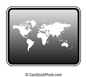 mappa mondo, su, computer, tavoletta