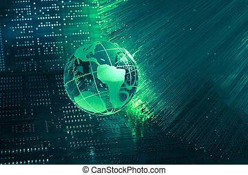 mappa mondo, tecnologia, stile, contro, fibra ottica, fondo