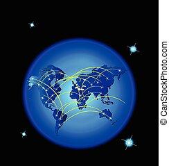 mappa mondo, trafficare, web, rete, collegare