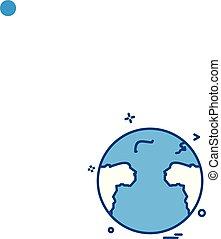 mappa mondo, vettore, disegno, icona