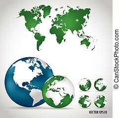 mappa mondo, vettore, illustration.