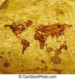 mappa mondo, web, icona, appartamento, disegno