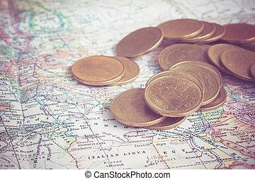 mappa, moneta, stile, filtro, effetto, retro, vendemmia
