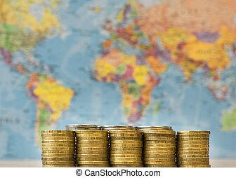 mappa, monete, metallo, fondo, world.