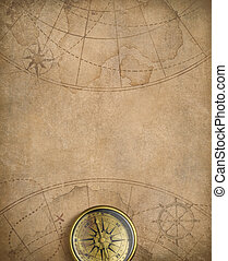 mappa, nautico, vecchio, bussola