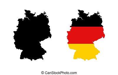 mappa, nazionale, nero, colorare, bandiera, germania