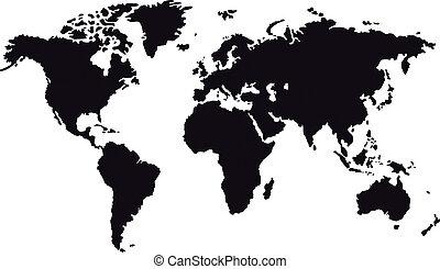 mappa, nero, mondo