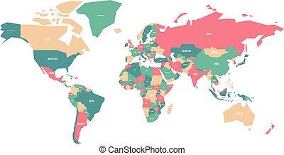mappa, nome, colorito, paese, etichette, vettore, semplificato, world.