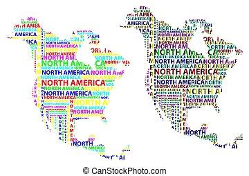 mappa, nord, -, illustrazione, vettore, america, continente