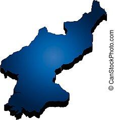mappa, nord, illustrazione, vettore, korea., 3d
