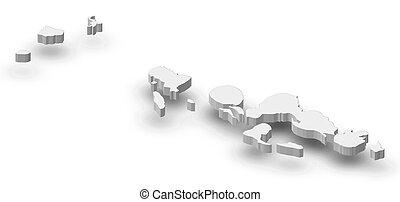 mappa, -, occidentale, (solomon, islands), -, 3d-illustration