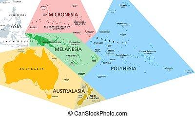 mappa, oceania, regioni, politico