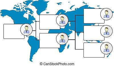 mappa, organogram, illustrazione, mondo