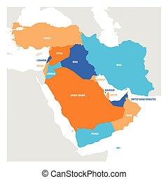 Cartina Asia Occidentale.Mappa Asia Occidentale Mappa Paesi Colorare Diviso Asia Occidentale Canstock