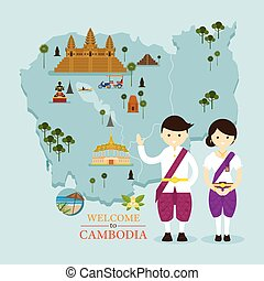 mappa, persone, limiti, cambogia, abbigliamento tradizionale