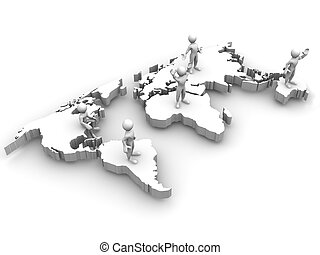 mappa, persone, mondo