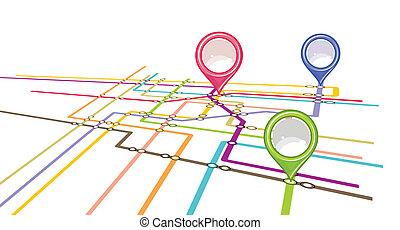 mappa, piano, -, sottopassaggio, metro