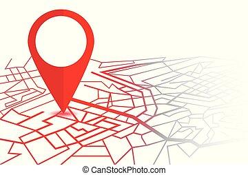mappa, pin., perno, isolato, fondo, navigatore, bianco, gps